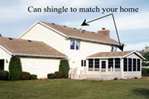 Sunroom roof can be shingled to match your home
